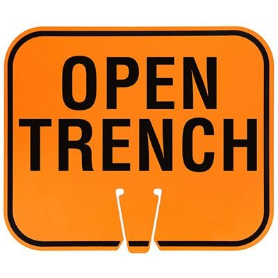 Plastic Traffic Cone Signs- Open Trench