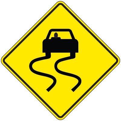 Reflective Warning Signs - Swerving Car (Symbol)