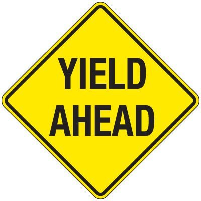 Reflective Warning Signs - Yield Ahead