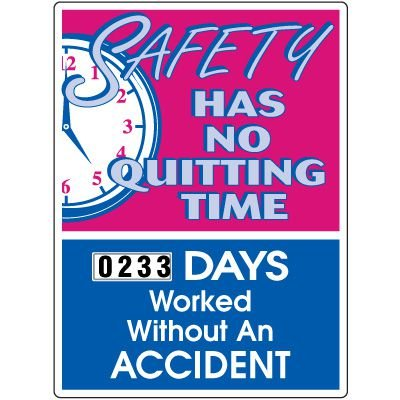 No Quitting Time Recordable Accident Scoreboard