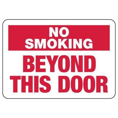 No Smoking Beyond Door Sign