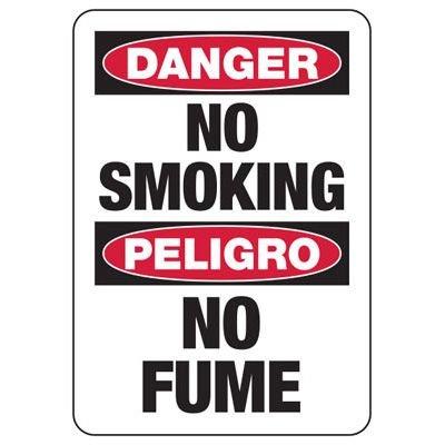 Bilingual Danger No Smoking Sign