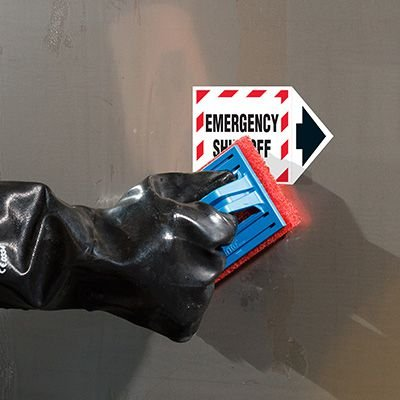 ToughWash® Arrow Labels - Emergency Shut-Off