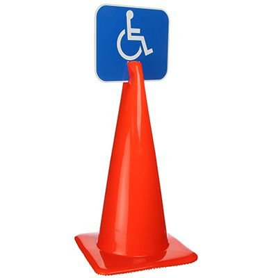 Plastic Traffic Cone Signs- Handicap Symbol Arrow Sign HNDY