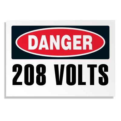 Voltage Warning Labels - Danger 208 Volts