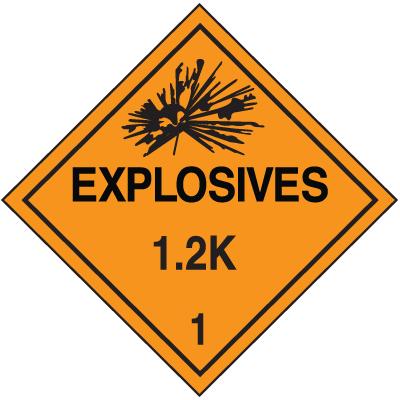 1.2K DOT Explosive Placards