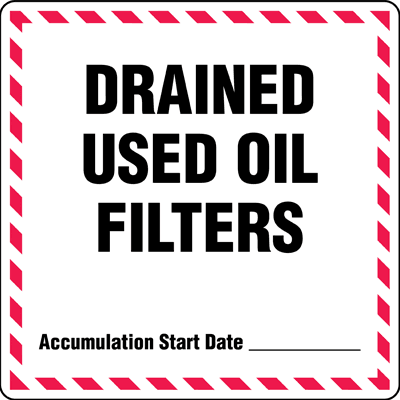 Drained Used Oil Filters - Drum Identification Labels