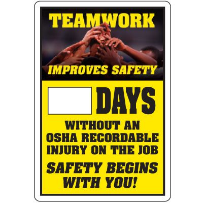 Dry Erase Safety Tracker Signs - Teamwork Improves Safety