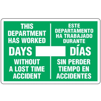 Dry Erase Safety Tracker Signs - This Department Has Worked Este Departamento Ha Trabajo