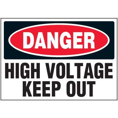 High Voltage Keep Out - Voltage Warning Labels