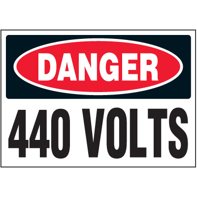 Voltage Warning Labels - Danger 440 Volts