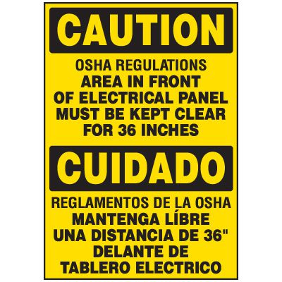Voltage Warning Labels - Bilingual Caution Keep Clear