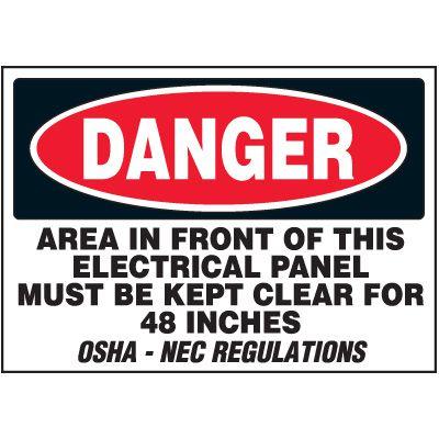 Voltage Warning Labels - Danger Keep Clear