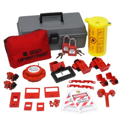 Electrical Lockout Toolbox Kit With Brady Safety Padlocks & Tags