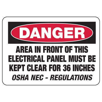 Electrical Safety Signs - Danger Area In Front Of Electrical Panel Must Be Kept Clear