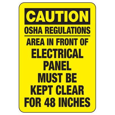 Electrical Safety Signs - Caution Keep Electrical Panel Clear For 48 Inches