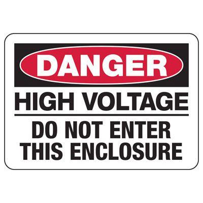 Electrical Safety Signs - Danger High Voltage Do Not Enter