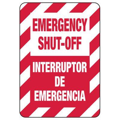 Bilingual Emergency Shut-Off Safety Signs