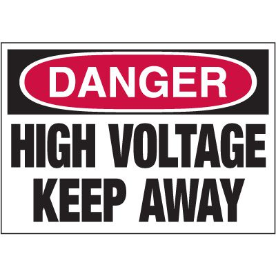 Electrical Warning Labels - Danger High Voltage Keep Away