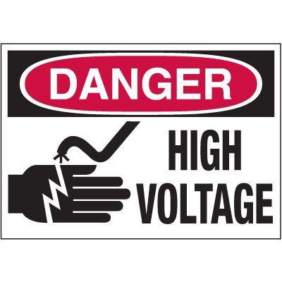 Electrical Warning Labels - Danger High Voltage