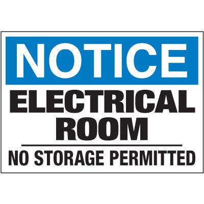 Electrical Warning Labels - Notice Electrical Room