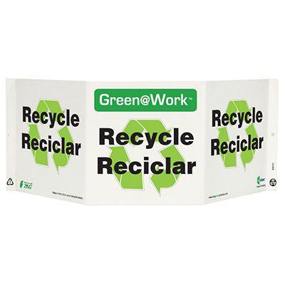 En/Sp Bilingual Tri View Recycling Sign