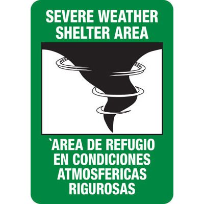 Bilingual Storm Shelter Area Safety Sign