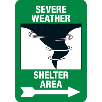 Severe Weather Shelter (Right Arrow) - Safety Sign