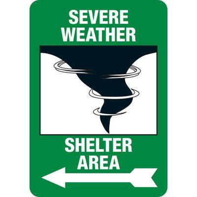 Severe Weather Shelter (Left Arrow) - Safety Sign