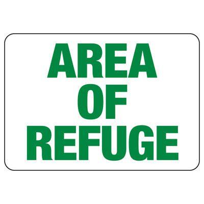 Area Of Refuge Safety Sign