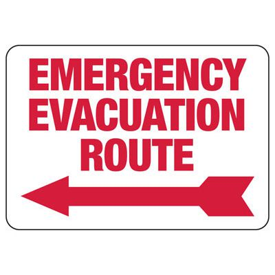 Emergency Evacuation Route (Left Arrow) - Evacuation  Signs
