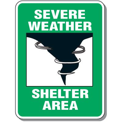 Outdoor Severe Weather Shelter Area Sign