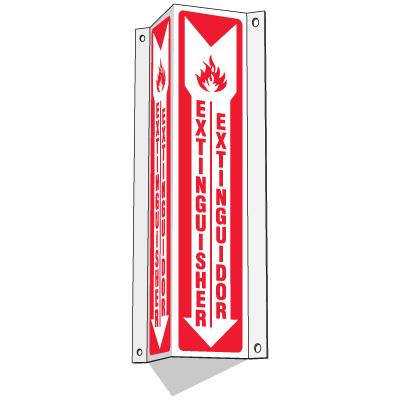 Slim-Line 3-Way Bilingual Extinguisher Signs