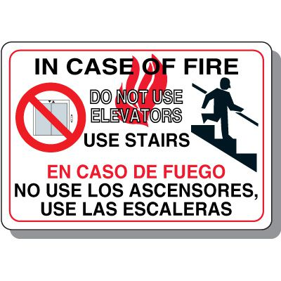 Bilingual Fire Use Stairs Signs