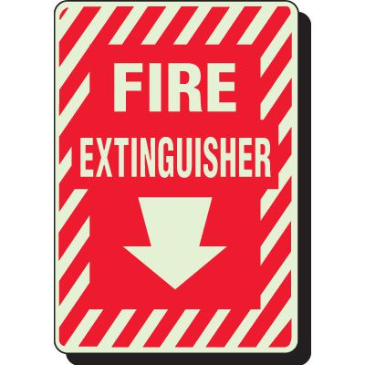 Glow In The Dark Fire Extinguisher Signs