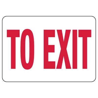 To Exit Safety Sign, Red/White