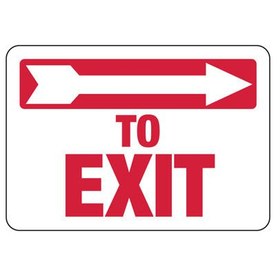To Exit (Right Arrow) Sign