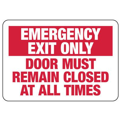 Emergency Exit Only Door Safety Sign