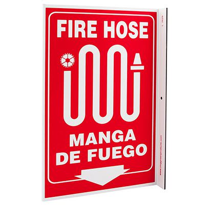 Fire Hose Bilingual L-Style Sign