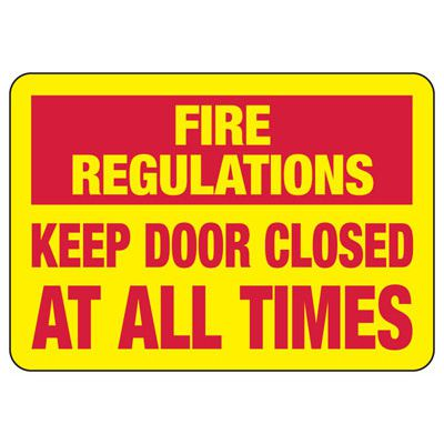 Fire Regulations Safety Sign