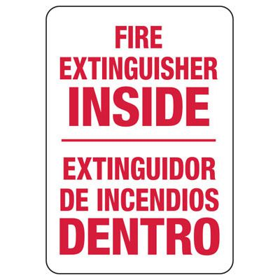 Bilingual Fire Extinguisher Inside Sign