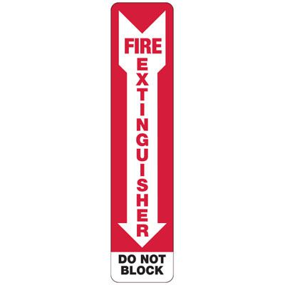 Slim-Line Fire Extinguisher Do Not Block Signs