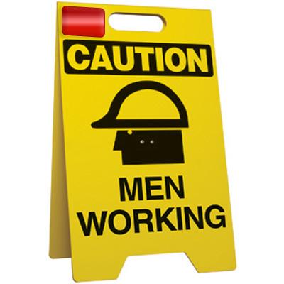 Caution Men Working Floor Stand