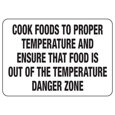 Cook Foods To Temperature Safety Sign