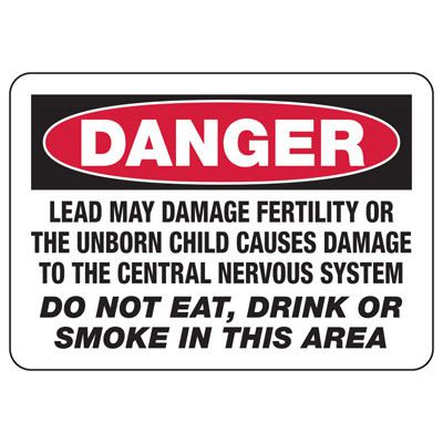 Mandatory GHS Safety Signs - Danger Lead May Damage Fertility