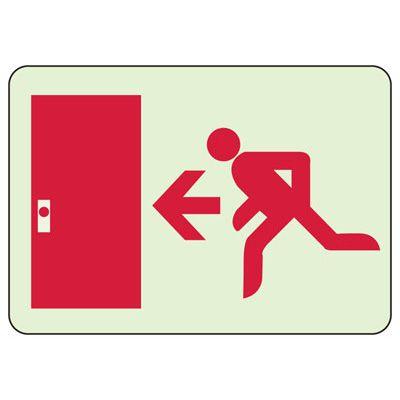 Exit Door Left Glow In The Dark Sign