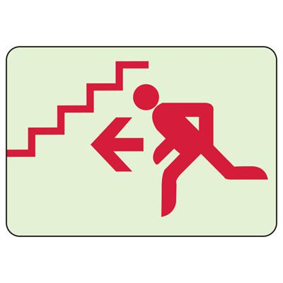 Stairs Left Arrow - Exit Stairways Sign