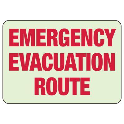 Emergency Evacuation Glow Sign