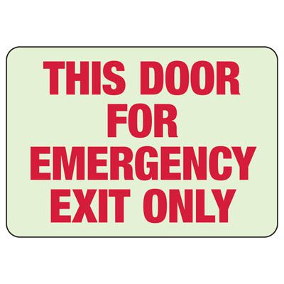 This Door For Emergency Exit Only Sign