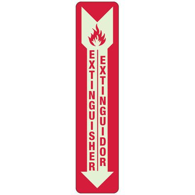 Bilingual Slim-Line Fire Extinguisher Safety Sign